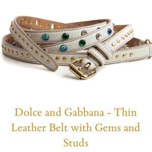 Dolce & Gabbana Thin Leather Belt w/ Gems & Studs